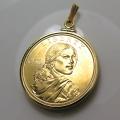 サカガウィアSacagaweaスカジャウィー(1ドル)コインペンダント・バチカン付「14kgf・ゴールドフィルド」(1個)