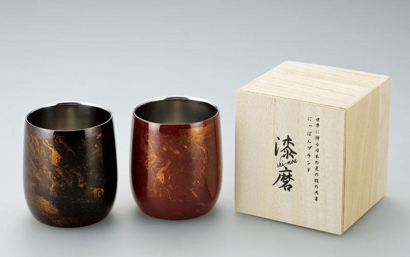【日本製】 漆磨(シーマ) 本漆塗り 2重構造 ロックカップ(ダルマ型) 1客(赤/黒)