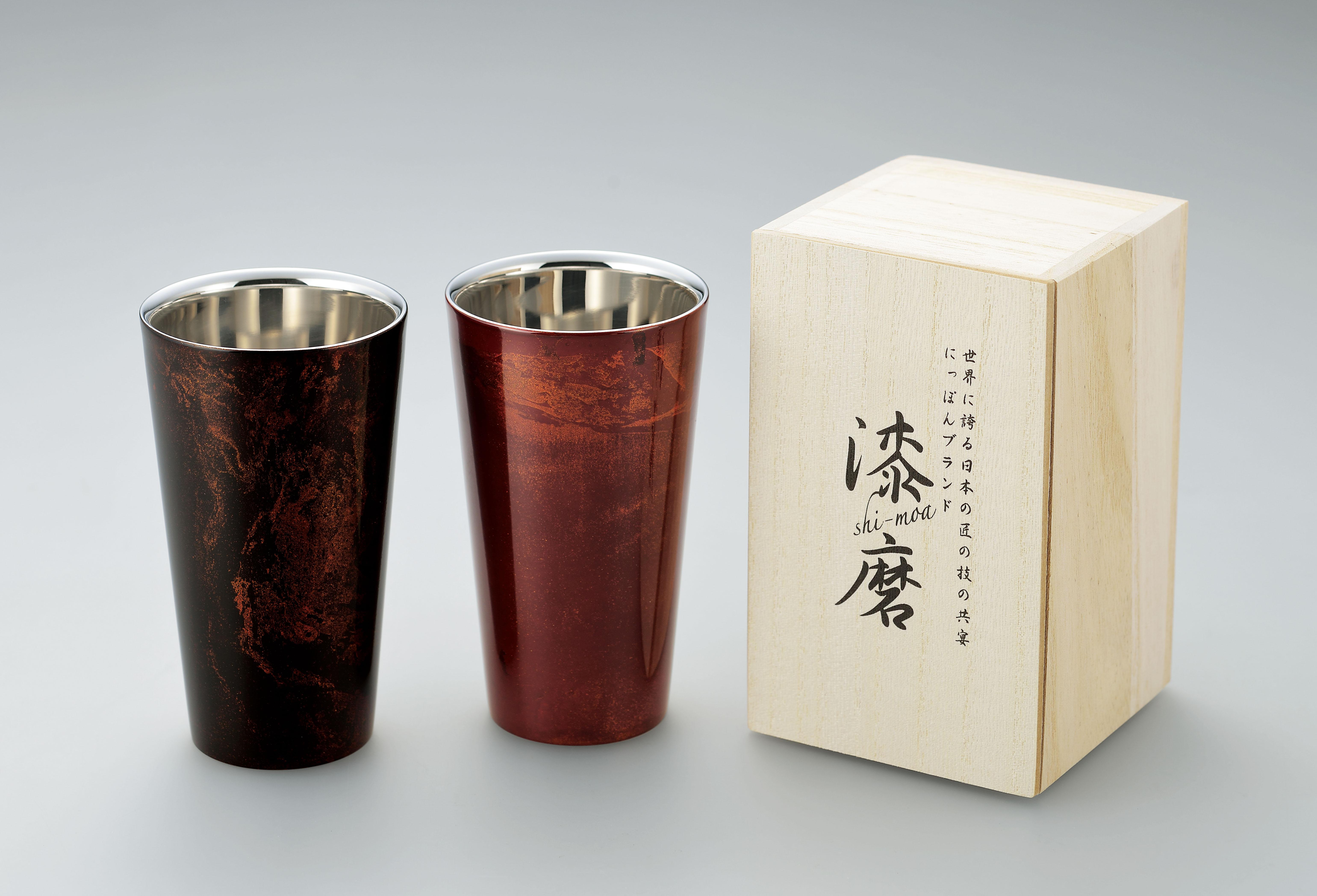 【日本製】 漆磨(シーマ) 本漆塗り 2重構造 ストレートカップ 1客(赤/黒)