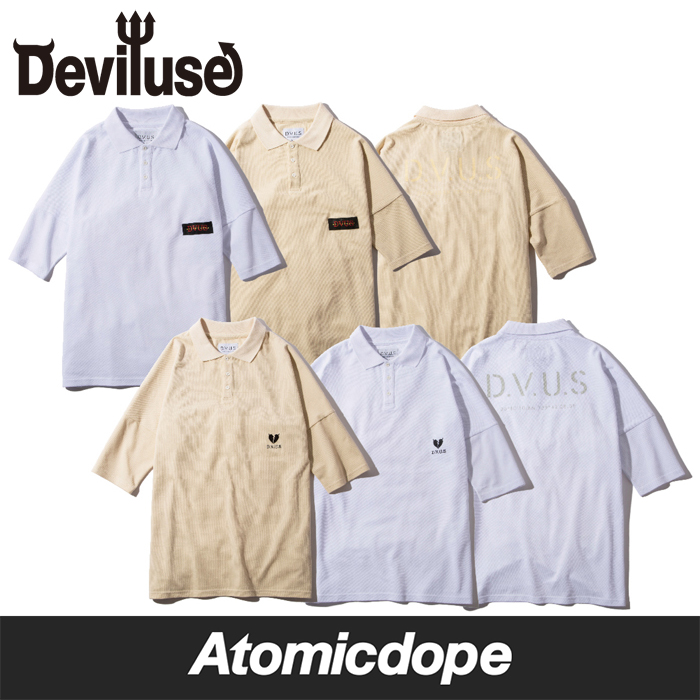 Deviluse DVUS Heartaches ポロシャツ 白 カーキ Polo Shirts White Khaki デビルユース
