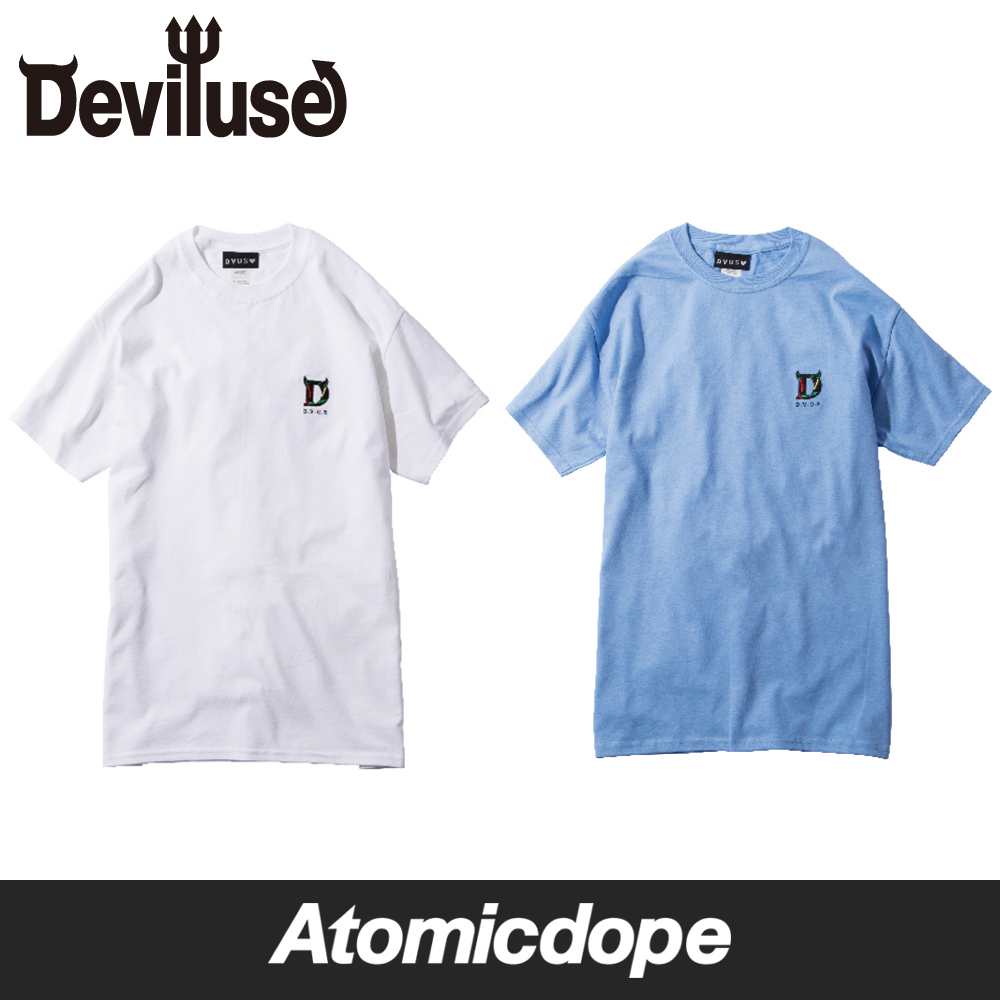 Deviluse Crazy Peppers Embroider Tシャツ 白 青 T-Shirts White Light Blue デビルユース
