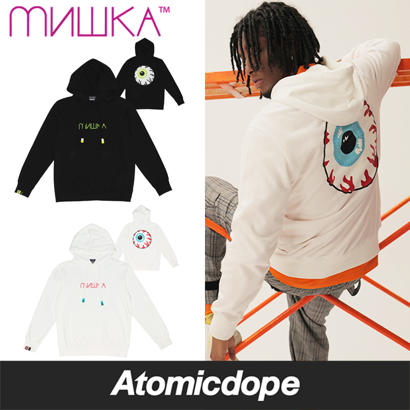 【送料無料】MISHKA CYRILLIC KEEP WATCH プルオーバーパーカー 黒 白 PULLOVER HOODY Black White ミシカ