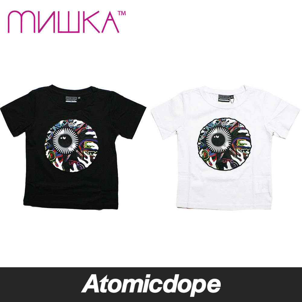 【MISHKA】KIDS NEON KEEP WATCH Tシャツ 黒 白 子供用 Black White ミシカ