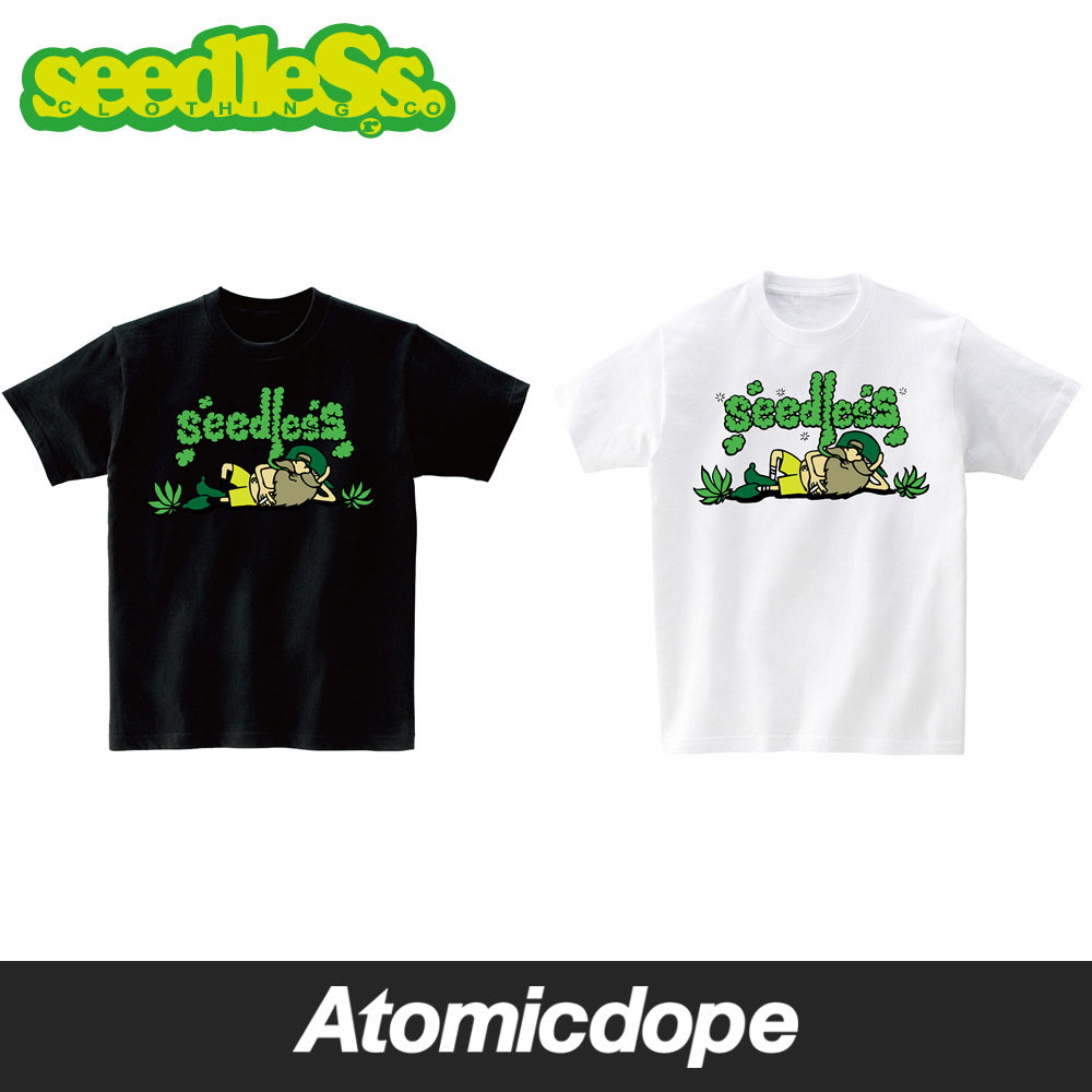 seedleSs chillin TIME Tシャツ 半袖 黒 白 s/s tee Black White シードレス