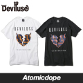��Deviluse��Houndstooth T����� Ⱦµ �� �� T-shirts Black White �ǥӥ�桼��