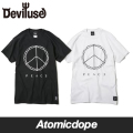 ��Deviluse��PEACE T����� Ⱦµ �� �� T-shirts Black White �ǥӥ�桼��