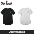 ��Deviluse��PEACE ��󥰥�󥰥� T����� Ⱦµ ��Ĺ �� �� Long T-shirts Black White �ǥӥ�桼��