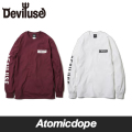 ��Deviluse��LIBERTY ���T ŵ �� �� Long Sleeve T-shirts White Maroon �ǥӥ�桼��