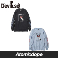 Deviluse Wicked ロンT 長袖 黒 水色 L/S T-shirts Black Light Blue デビルユース