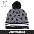 【FAMOUS STARS AND STRAPS】LUNAR POM BEANIE Grey ボンボン ビーニー 帽子 灰 フリーサイズ