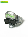 ������̵���ۡ�seedleSs��SD SKULL RING WITH SUNGLASSES Silver Green ��� ���� ����С� ���꡼�� �� �� �����ɥ쥹