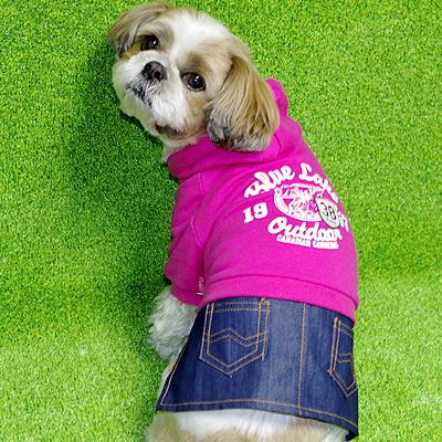 犬用デニムスカートのパーカー