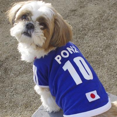 【名前・背番号入り】犬用サッカーユニフォーム(犬の服)日本代表/白
