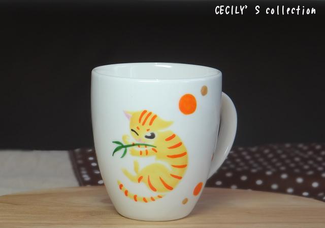 猫手描きオーダーマグカップ(名入れ)ラウンドフォルム②
