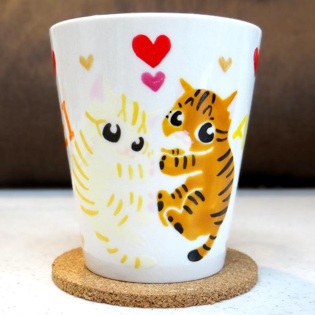 猫手描きオーダーマグカップ(名入れ)2