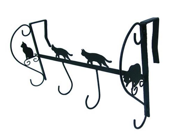 黒猫モチーフアイアン4連ドアハンガー