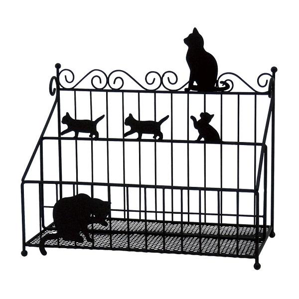 黒猫モチーフアイアンリモコンラック