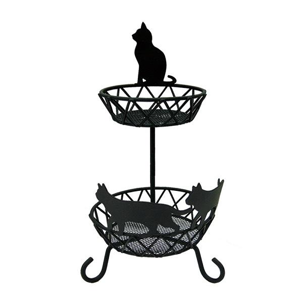 黒猫モチーフ2段アクセサリートレイ