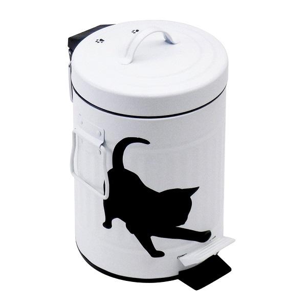黒猫シルエットペダルペール3L