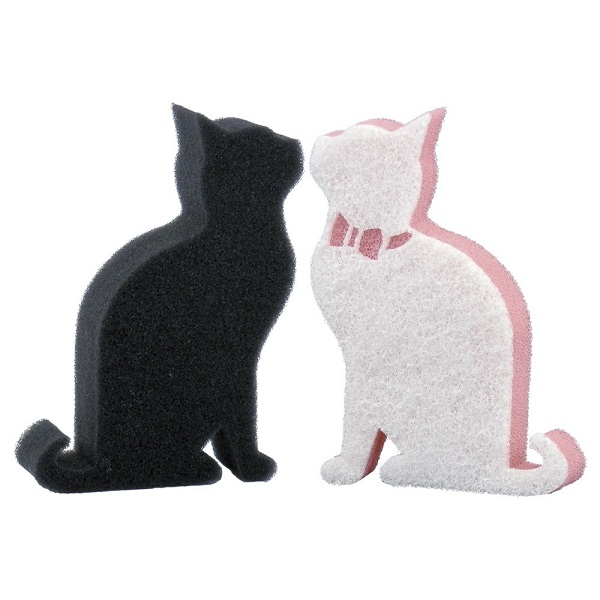 猫モチーフキッチンスポンジ2個セット