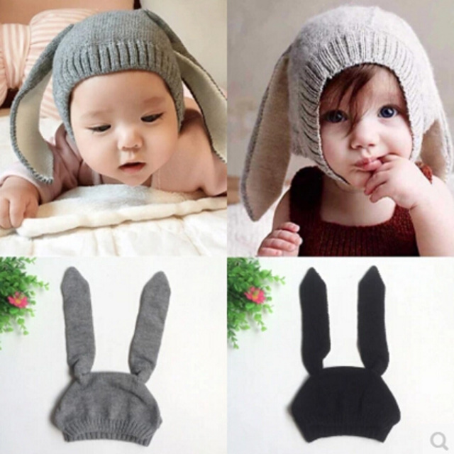 うさぎさんニット帽【グレー/ブラック】帽子/赤ちゃん/出産祝い