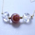 「赤メノー天眼石 + ピラミッド水晶」18金ネックレス(45センチ)