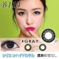 【シリコーンハイドロゲル】B114-GRAY☆1年使用・2枚入/度あり度なし/激安カラコン