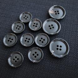 【厚みのある形(CORO)】本水牛ボタン#COROHORN 4穴14mm&19mmセット C/#B【ブラック】***10%OFF***