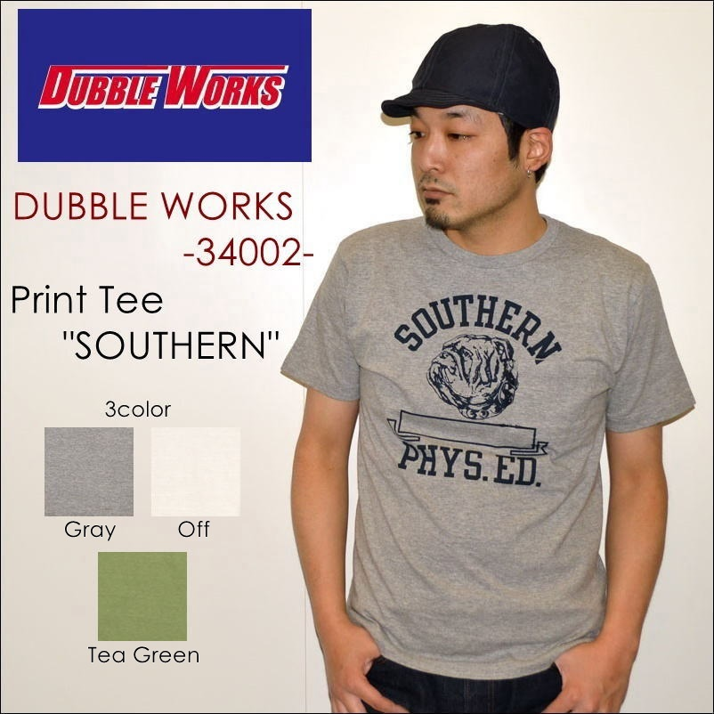 "DUBBLE WORKS ダブルワークス DUBBLEWORKS、""34002 SOUTHERN""、プリントS/SポケットTee [S/STee]"