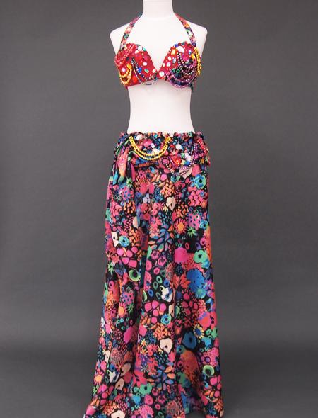 カラフル花柄ベリーダンス衣装2 ミラーナ