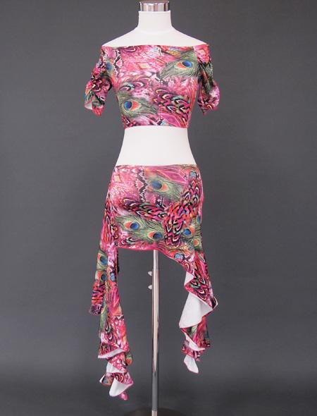 ピンク孔雀ウエアセット1 ミラーナベリーダンス衣装