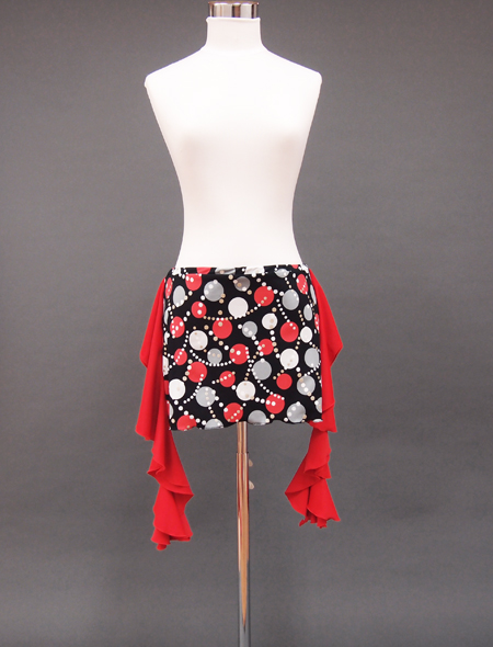 ドット柄赤ヒップスカーフ1 ミラーナベリーダンス衣装