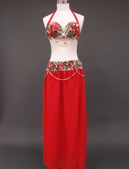 深紅ダマスクベリーダンス衣装1 ミラーナ