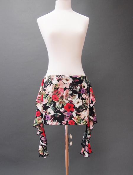 黒地花柄プリントヒップスカーフ ミラーナベリーダンス衣装
