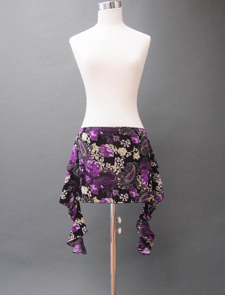 黒紫ペイズリーヒップスカーフ ミラーナベリーダンス衣装