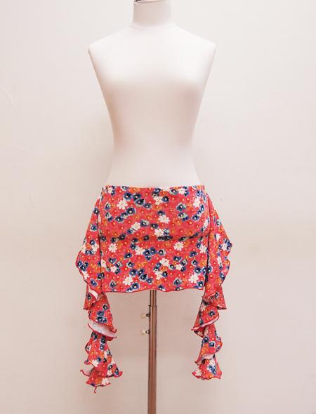 ピンク青白花柄ヒップスカーフ ミラーナベリーダンス衣装