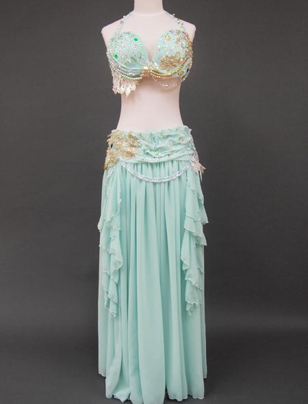 ミントグリーン衣装 ミラーナベリーダンス衣装