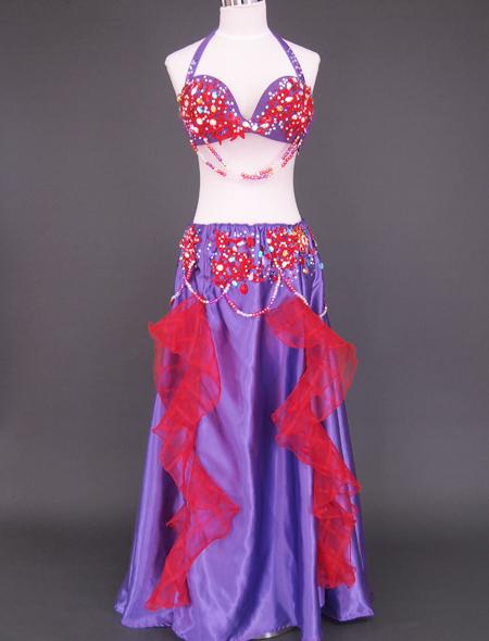 紫赤フリルベリーダンス衣装1 ミラーナ