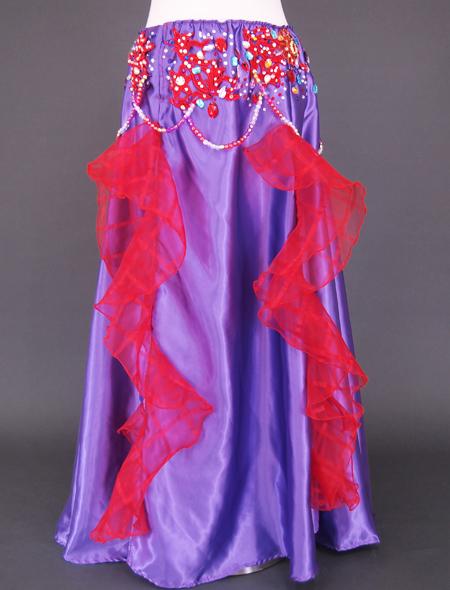 紫赤フリルベリーダンス衣装3 ミラーナ