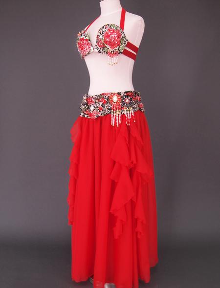赤ばら衣装4 ミラーナベリーダンス衣装