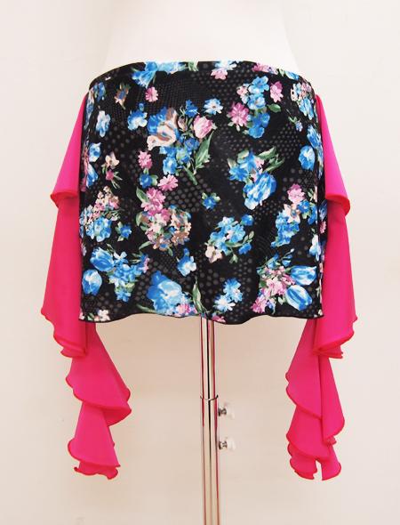 黒の青花プリントヒップスカーフ2 ミラーナベリーダンス衣装