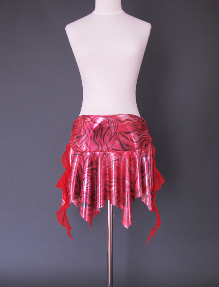 赤のメタリックヒップスカーフ1 ミラーナベリーダンス衣装