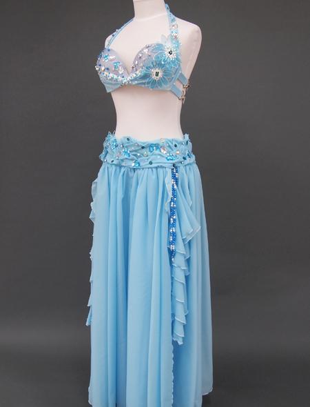 ブルー花のベリーダンス衣装5 ミラーナ