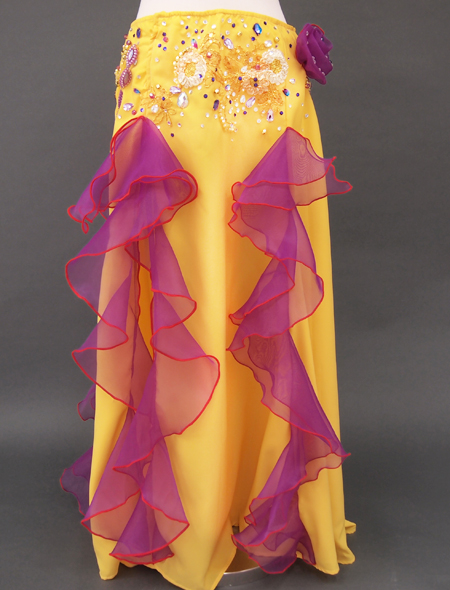 黄色パープルフリルのベリーダンス衣装3 ミラーナ