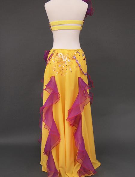 黄色パープルフリルのベリーダンス衣装6 ミラーナ