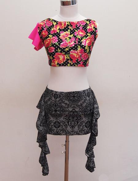 ワンショルダー黒花トップス2 ミラーナベリーダンス衣装