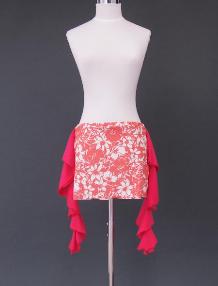 ピンクフリルサーモンピンクヒップスカーフ ミラーナベリーダンス衣装