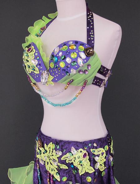 パープルグリーンベリーダンス衣装4 ミラーナ