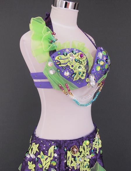 パープルグリーンベリーダンス衣装5 ミラーナ