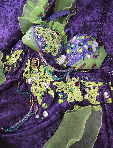 パープルグリーンベリーダンス衣装7 ミラーナ